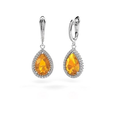 Pendants d'oreilles Tilly per 4 585 or blanc citrine 12x8 mm