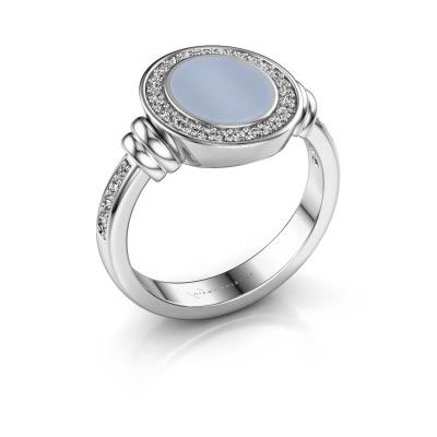 Signet ring Bailey 925 silver light blue sardonyx 10x8 mm