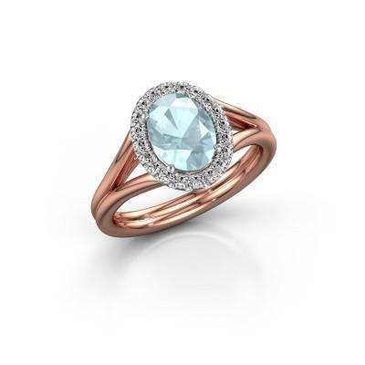 Engagement ring Rachele 1 585 rose gold aquamarine 8x6 mm