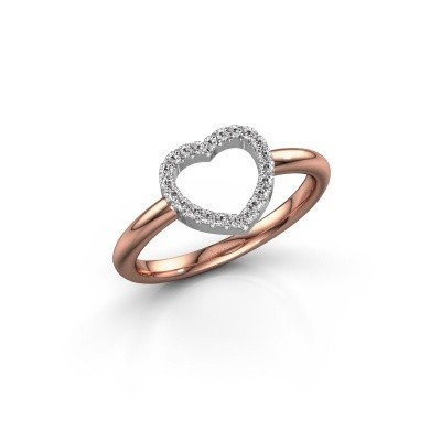 Foto van Ring Heart 7 585 rosé goud zirkonia 1 mm