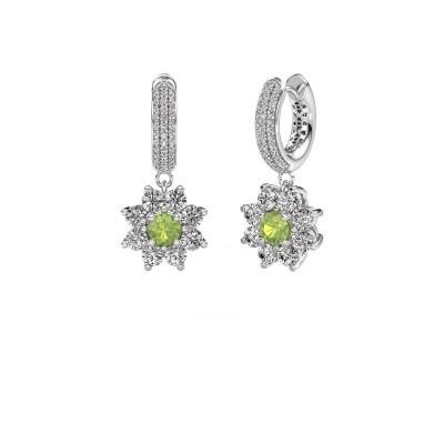Picture of Drop earrings Geneva 2 950 platinum peridot 4.5 mm