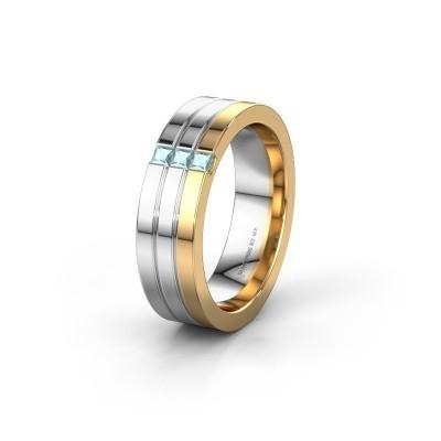 Wedding ring WH0428L16BP 585 gold aquamarine ±6x2 mm