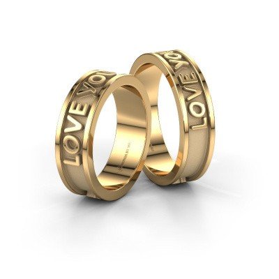 Picture of Wedding rings set WHR0434LM ±0.24x0.08 in 14 Carat gold