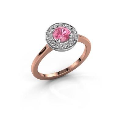 Ring Agaat 1 585 rosé goud roze saffier 5 mm