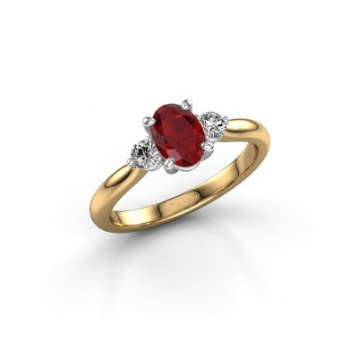 Picture of Engagement ring Lieselot OVL 585 gold ruby 6.5x4.5 mm
