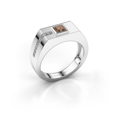 Herrenring Robertus 1 585 Weißgold Braun Diamant 0.496 crt