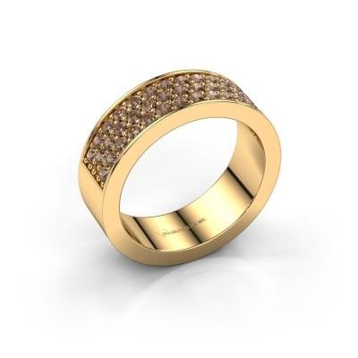 Ring Lindsey 6 375 gold brown diamond 0.82 crt