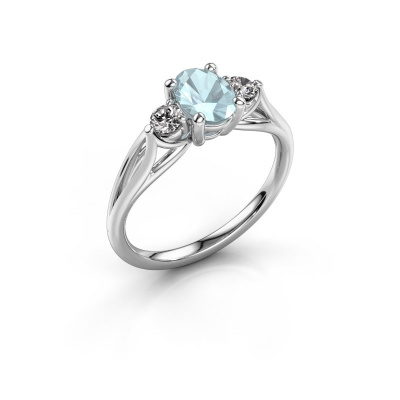Picture of Engagement ring Amie OVL 925 silver aquamarine 7x5 mm