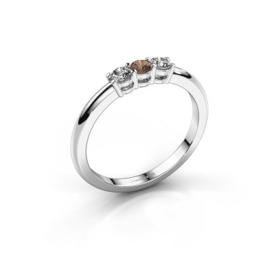 Foto van Verlovingsring Michelle 3 585 witgoud bruine diamant 0.30 crt