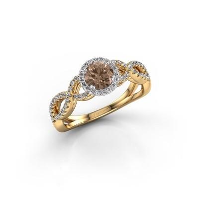 Engagement ring Dionne rnd 585 gold brown diamond 0.82 crt