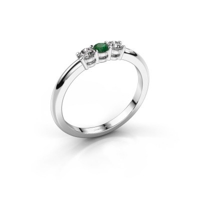 Foto van Verlovingsring Michelle 3 585 witgoud smaragd 3 mm