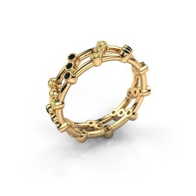 Ring Floortje 375 gold black diamond 0.216 crt