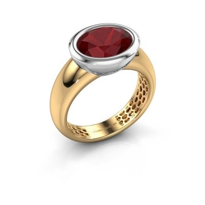 Bague Evelyne 585 or jaune rubis 10x8 mm