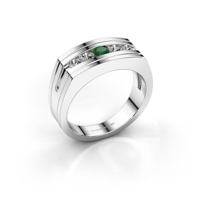 Foto van Heren ring Huub 585 witgoud smaragd 3.7 mm