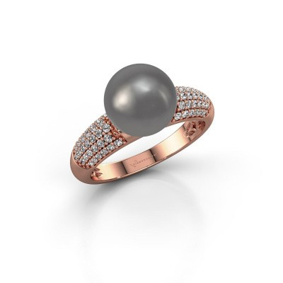Foto van Ring Anisa 375 rosé goud grijze parel 9 mm