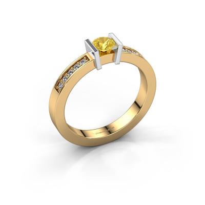 Aanzoeksring Maryam 585 goud gele saffier 4 mm