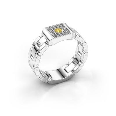 Rolex stijl ring Giel 950 platina gele saffier 2.7 mm