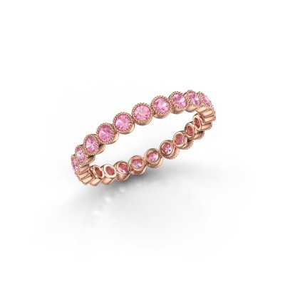 Foto van Ring Mariam 0.03 375 rosé goud roze saffier 2 mm