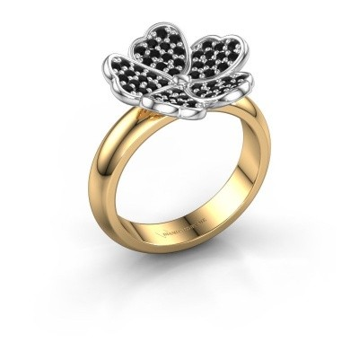 Ring Daphne 585 goud zwarte diamant 0.540 crt
