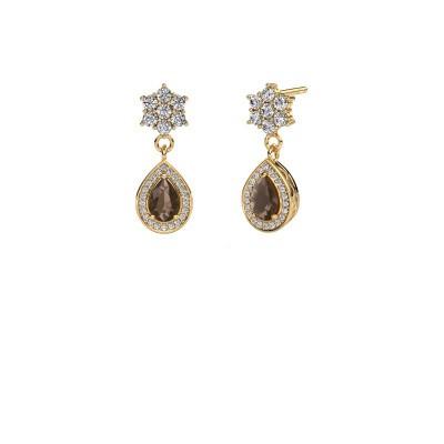 Drop earrings Era 375 gold smokey quartz 6x4 mm
