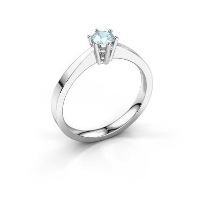 Picture of Engagement ring Noortje 950 platinum aquamarine 4 mm