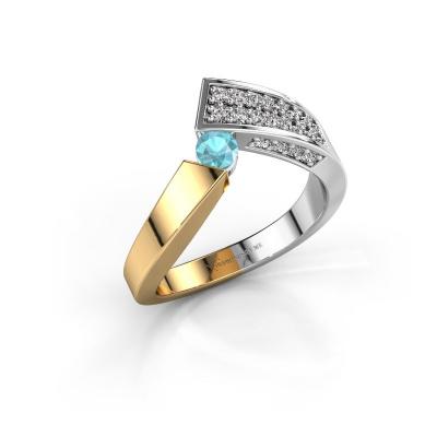 Ring Evie 585 gold blue topaz 3.4 mm