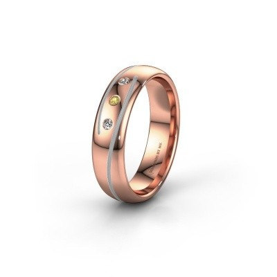 Wedding ring WH0152L25A 585 rose gold yellow sapphire ±0.20x0.07 in