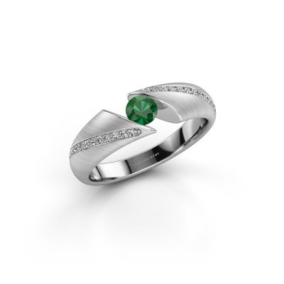 Foto van Ring Hojalien 2 925 zilver smaragd 4 mm