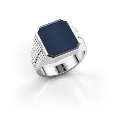 Foto van Rolex stijl ring Brent 3 585 witgoud donker blauw lagensteen 14x12 mm
