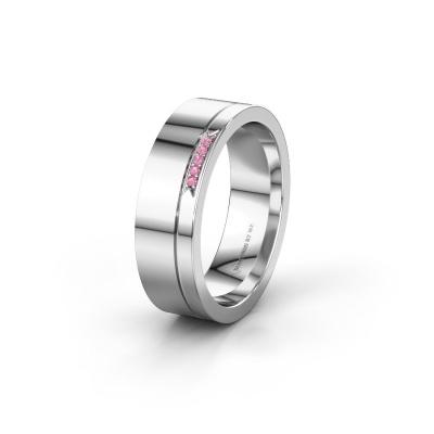 Huwelijksring WH0336L16A 585 witgoud roze saffier ±6x1.7 mm