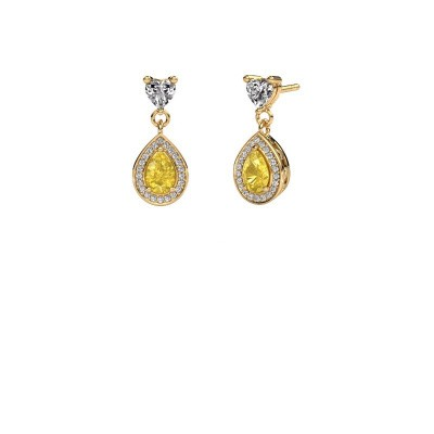 Drop earrings Susannah 375 gold yellow sapphire 6x4 mm