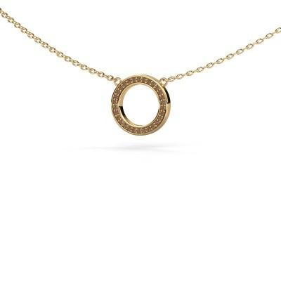 Foto van Hanger Round 1 585 goud bruine diamant 0.075 crt