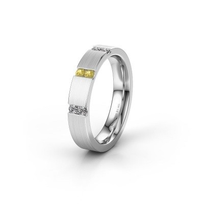 Wedding ring WH2133L14BM 585 white gold yellow sapphire ±4x2.2 mm