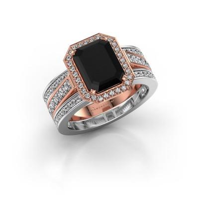 Foto van Ring Dodie 3 585 rosé goud zwarte diamant 3.99 crt