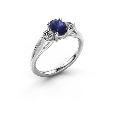 Image of Engagement ring Amie OVL 585 white gold sapphire 7x5 mm