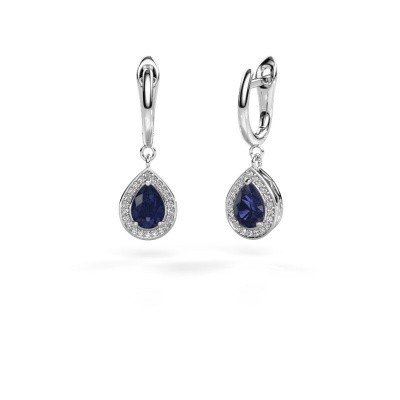 Drop earrings Ginger 1 950 platinum sapphire 7x5 mm