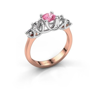Engagement ring Jet 585 rose gold pink sapphire 5 mm