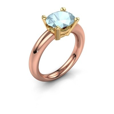 Ring Janiece 585 rose gold aquamarine 10x8 mm