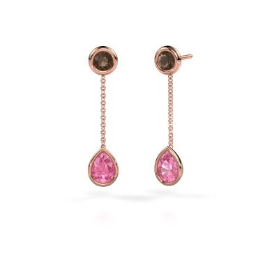 Drop earrings Ladawn 585 rose gold pink sapphire 7x5 mm