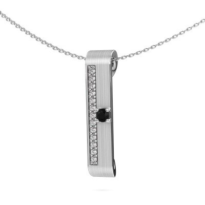 Halsketting Vicki 585 witgoud zwarte diamant 0.315 crt