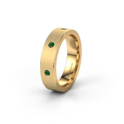 Trouwring WH0105L15BM 375 goud smaragd 2 mm ±5x2 mm