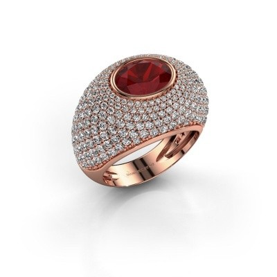Foto van Ring Armida 375 rosé goud robijn 9x7 mm