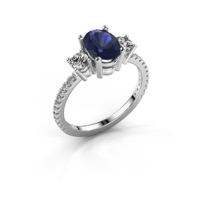 Picture of Engagement ring Emelda 585 white gold sapphire 8x6 mm