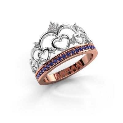 Ring Kroon 2 585 rosé goud saffier 1.2 mm