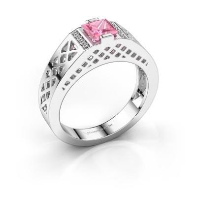 Heren ring Jonathan 950 platina roze saffier 5 mm