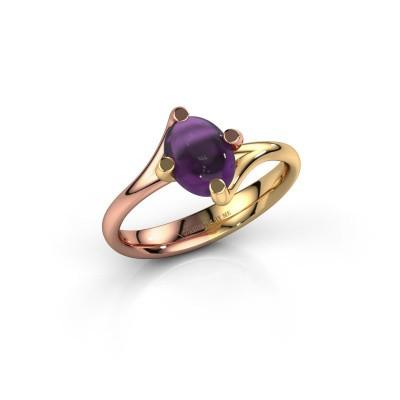 Ring Nora 585 rosé goud amethist 8x6 mm