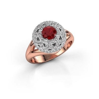 Ring Leonora 585 rose gold ruby 5 mm