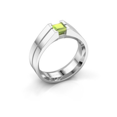 Foto van Heren ring Stefan 375 witgoud peridoot 4.5 mm