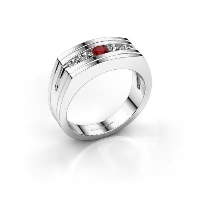 Foto van Heren ring Huub 925 zilver robijn 3.7 mm