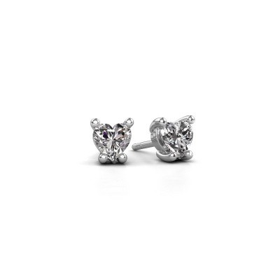 Photo de Boucles d'oreilles Sam Heart 585 or blanc diamant 0.50 crt